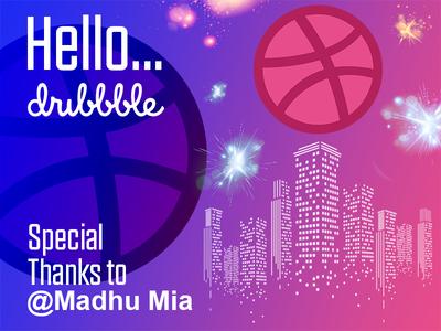 Hello Dribble  !! thanks shot illustration pink first shot invitation hello dribble
