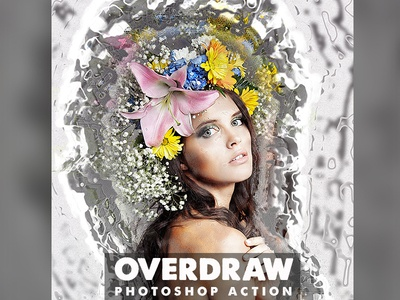 Overdraw Photoshop Action texture style splatter photoshop photomanipulation photo look paint lines grunge effect dispersion color atn advanced action abstract