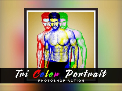 Tri Color  Portrait Photoshop Action tri portrait tri color portrait poster design color 1click action photoshop action photo effect action effect photoshop atn