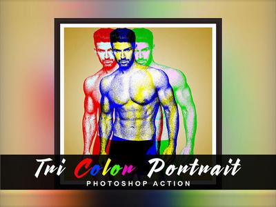 Tri Color  Portrait Photoshop Action tri portrait tri color portrait poster design color 1click action photoshop action photo effect action effect photoshop atn