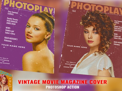 Vintage Movie Magazine Photoshop Action cd cover bookcover movie poster movie megazine vintsge movie professional photo effects old actions action photoshop poster megazine movie vintage