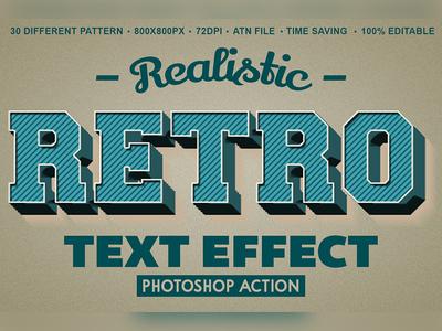 Retro Text Effect Photoshop Action vintage typography vintage text effects vintage type text style retro photoshop pattern old text old logo label grunge 3d text 3d 1 click atn photoshop action retro text effect