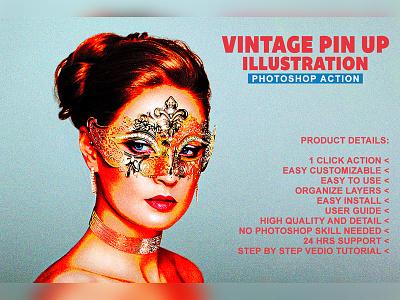 Vintage Pin-Up Illustration Photoshop Action photoeffect vintage movie professional photo effect photo effects photography old actions action photoshop illustration pin up vintage