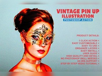 Vintage Pin-Up Illustration Photoshop Action