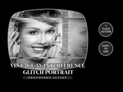 Vintage TV Interference GLITCH Portrait Photoshop Action 1click action atn file atn professional photography photo effects effect art color photo action abstract action photoshop portrait glitch interference tv vintage