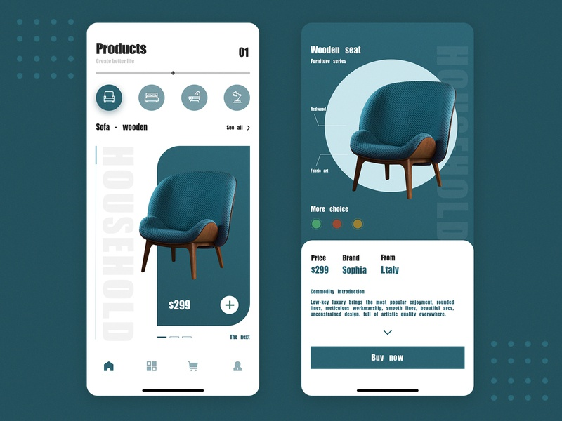 Furniture shopping app italy furniture app household furniture store shopping furniture branding 3d fashion web typography illustration app ux icon vector ui interface colour design