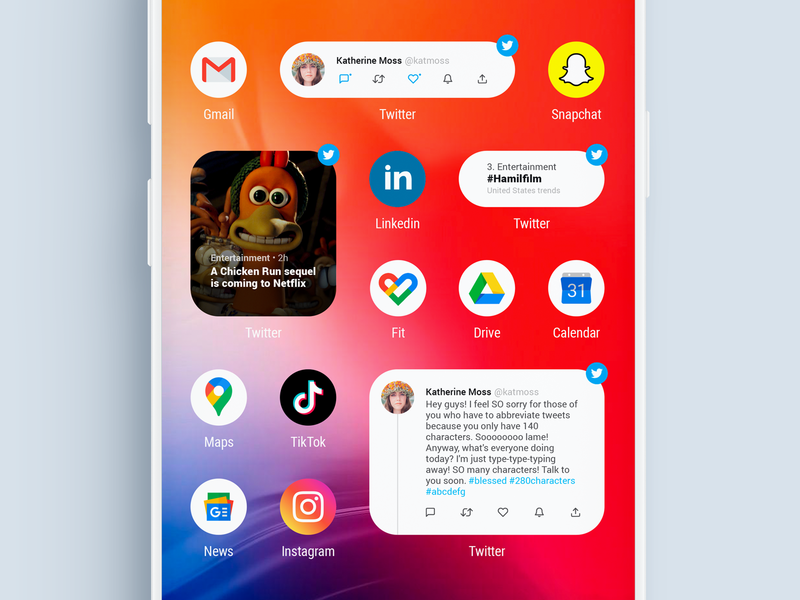 Fake Project Real Process - Twitter Widgets widgets visual design visualdesign uxui uxdesign ux uidesign ui android app design android app android