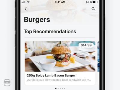 Burger App - iOS 11