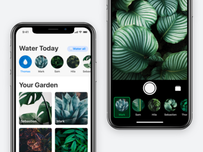 Potted for the iPhone X plants water reminder ui camera ios app potted x iphonex