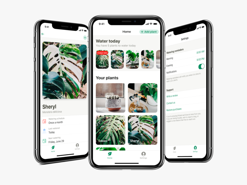 Potted v1.1 Cont. water reminder ios app plant potted ux ui
