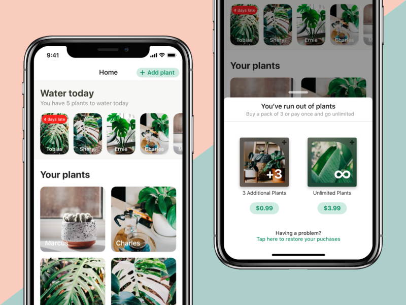 Potted In-app Purchases wip gardening reminder potted garden plants water ux iphone app design mobile ui ios