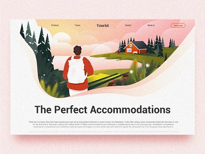 Tourism Home Page lake mountain web timberlake tourism tour travel design landingpage ui illustration