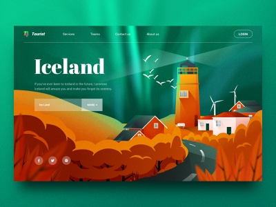 Aurora Over Iceland Illustration landingpage road bird house lighthouse aurora sketch scenery landscape iceland web illustration