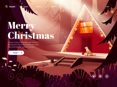 Merry Christmas!! family forest christmas animal house landscape ui design sketch landingpage web illustration