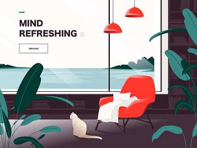 Tourist vacation illustrations cat chair relex sea landscape house ui sketch web landingpage illustration design