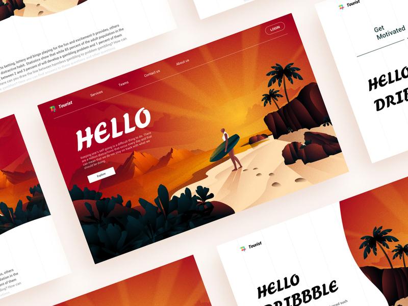 Illustration's Landingpage surfing sea landscape ui sketch design landingpage web illustration