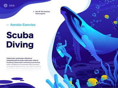 Scuba Diving page ocean water sea branding whales animal landscape ui design sketch landingpage web illustration