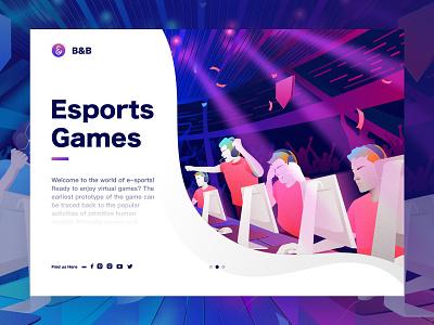 Esport Games Illustration online games games e-sports branding ui sketch design web landingpage illustration
