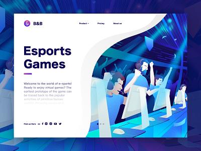 Esport Games Illustration computer games videogames esports bb timberlake branding ui sketch design landingpage web illustration