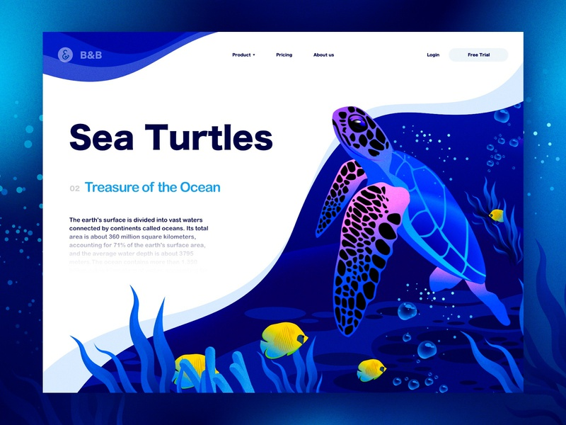 Sea Turtles Illustration illustrations fishes ocean turtles vector timberlake animal sea branding landscape ui sketch design web landingpage illustration
