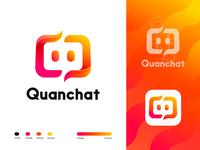 Quanchat brand icon branding identity quantex logodesign logotype type logo