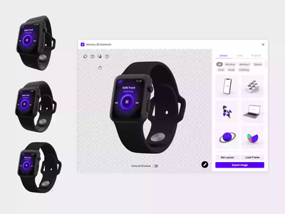 Vectary 3D Elements plugin for Figma - field of view mockup3d applewatch ui design mockup 3d vectary3d vectary figma plugin 3d figma figma plugin