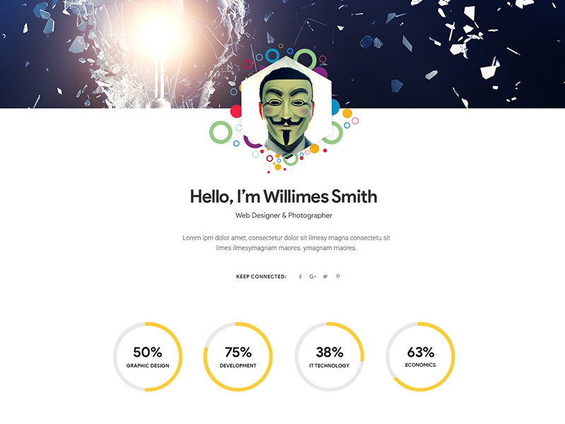 mask personal cv resume psd template by winsfolio dribbble