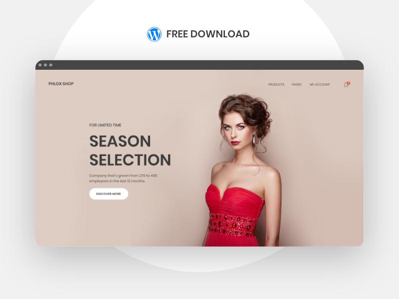 PHLOX. SHOP - Free WordPress Template commerce woo shop design ui xd template wordpress download free