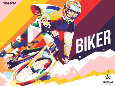 BIKER race mountain bike sports hobby coreldraw biker nike bike sport illustrator wpap website vector illustration design classic branding animation