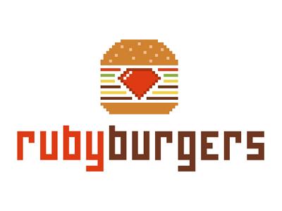 Rubyburgers rubyburgers hamburger burger fast-food food logotype pixel flat typography