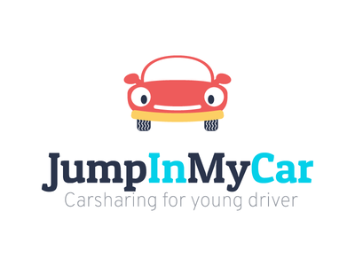 Jump in my car - Carsharing for young driver smile cartoon colors identity logo young driver carsharing car