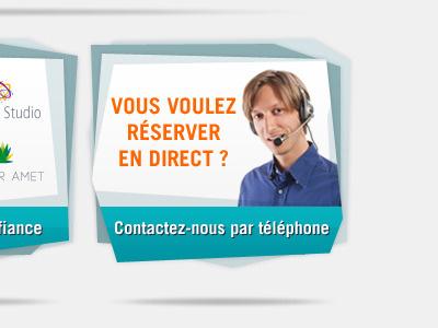 Maison de L'Automobile cta call-to-action box gradient shadow blue contact highlight