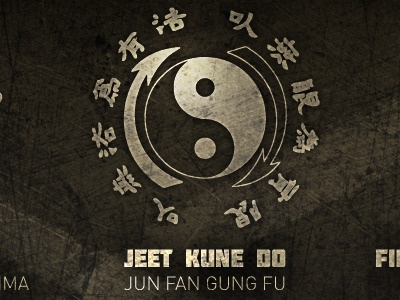 Jeet Academy highlight text shadow gold karate kungfu martial arts silver white black yellow chinese yin yang
