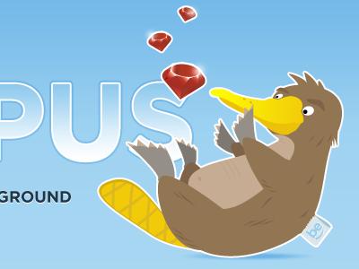 Platypus platypus mascot logo logotype illustration belighted ruby rails blog blue white red yellow brown animal plush