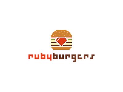 Rubyburgers ruby rails burger food pixel logo code event hamburger love fast food brussels belgium eating coding