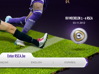Rsca Splashpage rsca royal sporting club anderlecht football soccer ball purple ground navigation introduction welcome page