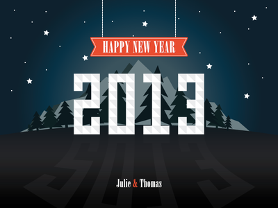 Happy New Year 2013 happy new year event calendar card star night montain typography tree