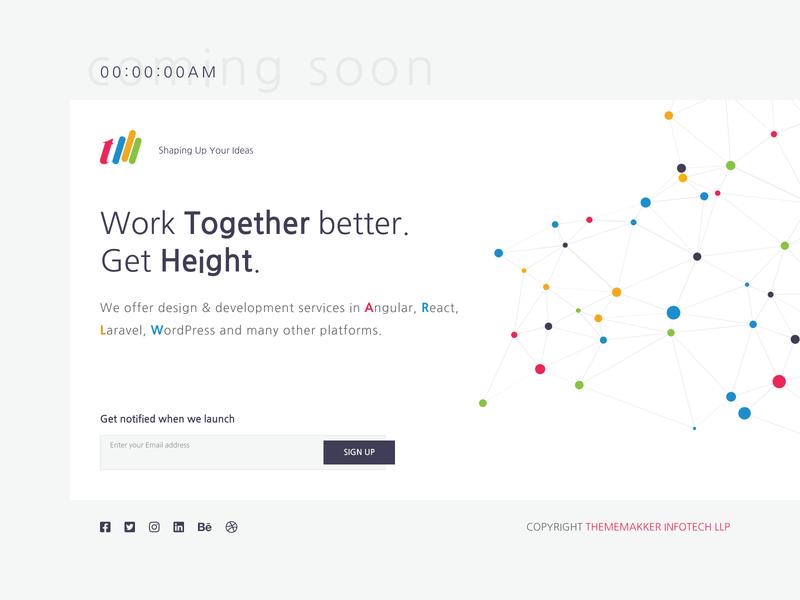 """Coming Soon page """"ThemeMakker"""" new website coming soon coming soon template comingsoon ux graphic illustration ui design dribbble thememakker"""