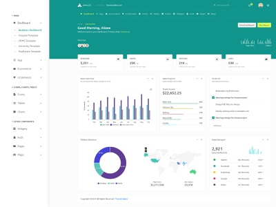 Amaze Admin Dashboard Template and UiKit bootstrap responsive web design rtl dark light university realestate hospital app hospital hrms webapp website admin admin panel admin dashboard thememakker