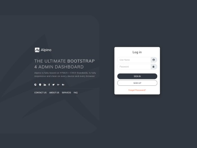 Alpino Login page and admin template rtl support light and dark responsive design admin template web template admin panel admin dashboard thememakker login design login screen login form login page login