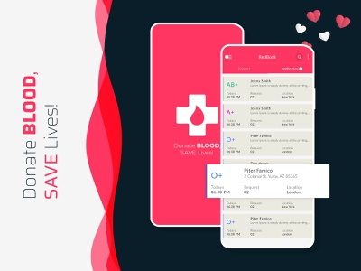 Redbook Blood App dribbble graphic android app development ios development ios app design android app design android ios thememakker service app appdesign appdevelopment mobileappdesign mobile donate app blood