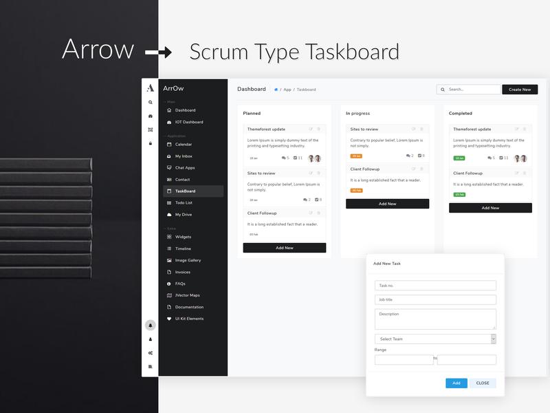 Arrow Scrum Type Taskboard dribbble admin panel app graphic thememakker tamplate admin dashboard taskboard scrum admin arrow
