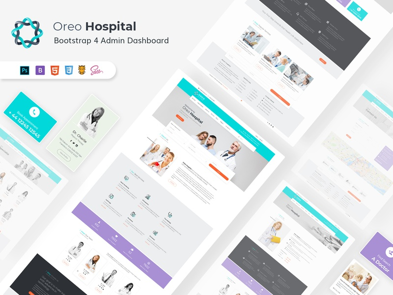 Oreo Hospital FrontEnd HTML template photoshop grunt scss bootstrap 4 bootstrap hospitals responcive html 5 psd design thememakker graphic design website hospital website doctor hospital