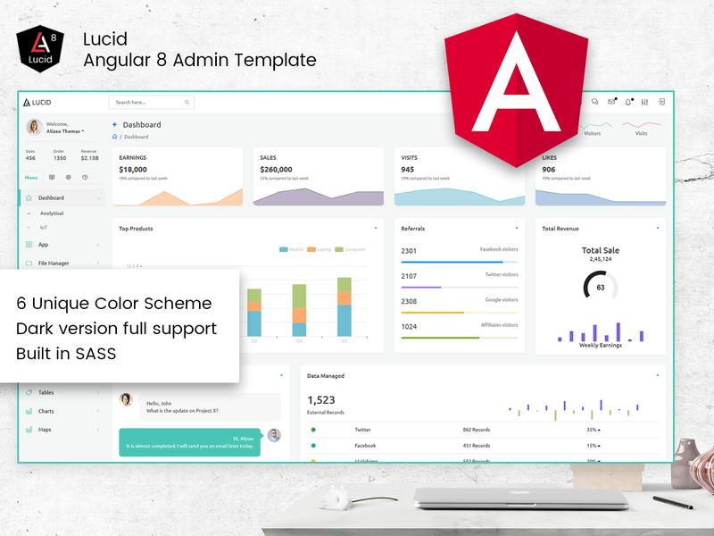 Lucid Angular 8 Admin template wraptheme thememakker angularnative webapp angularbootstrap bootstrap4 angulardashboard template admin dashboard admin angularadmin angular8 angular