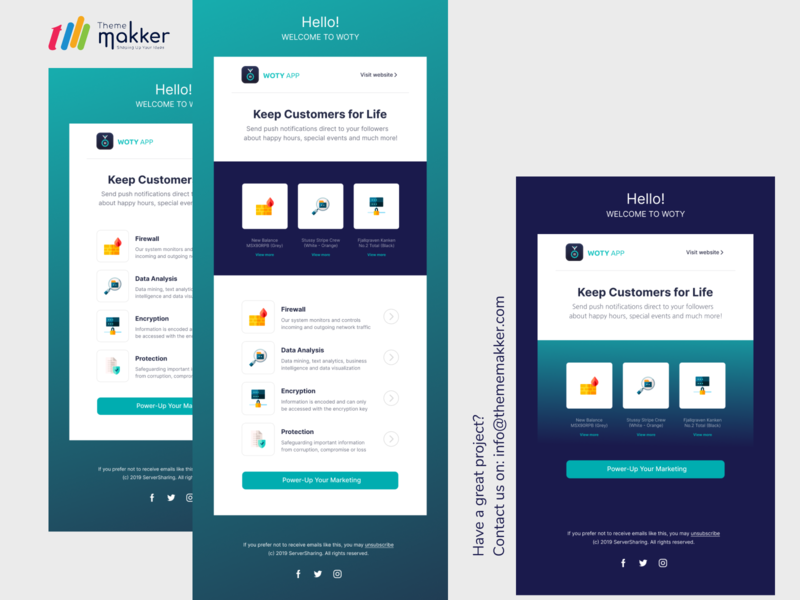 eMail Template Design in Figma email marketing team design agency development agency thememakker illustrator vector design figma email template email design