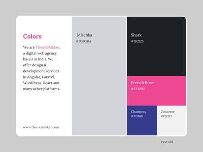 Color Pallete TTM-A03 admin panel admin dashboard dribbble branding illustration ui design vector colors thememakker