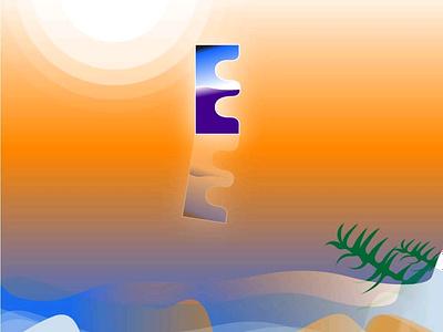 Retro E nature ilustrator logodesign gradient design retro logo