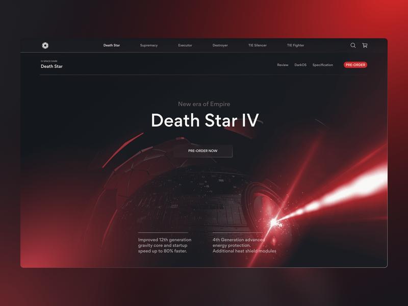 Empire Store typography ui deathstar star wars starwars store design hero image web design website web cinema4d c4d 3d