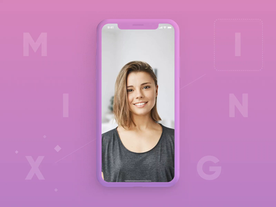 HairApp | Mixing Hairstyles ui startup pink motion mobile minimal ios hair fun design color application app animation