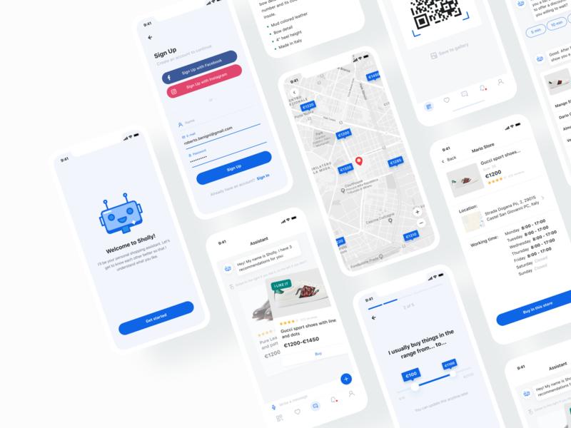 Sholly App | Smart Personal Shopping Assistant robot shop startup motion mobile minimal design application app animation